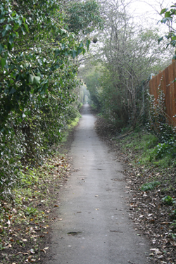Walking path from Church Street, Frodsham to the back graveyard gate.